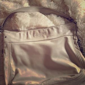 Coach Pearl/Cream Hobo Bag with cross-body strap